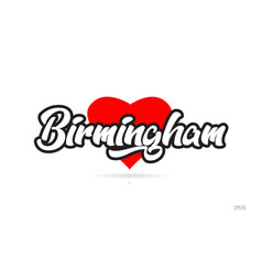 Birmingham city design typography with red heart vector