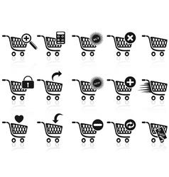 black shopping cart icon set vector image