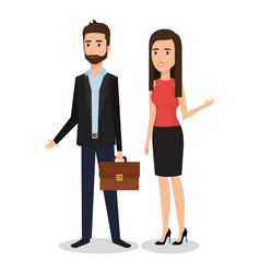 business people couple avatars characters vector image