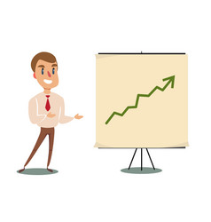 Businessman and growth chart on board vector