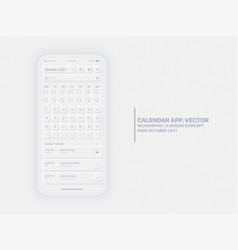 Calendar app october 2021 ui ux neumorphic design vector