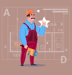 Cartoon builder wearing uniform and helmet vector