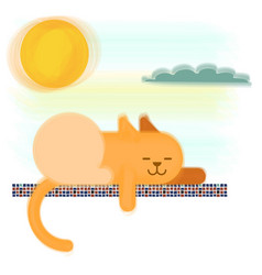 Cat lines and shapes basking in sun vector