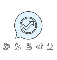 Chart line icon report graph in circle sign vector