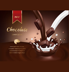 Chocolate advertisement poster realistic vector