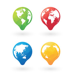 color pins with world globe vector image