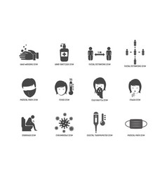 corona virus symptoms and prevention icon flat vector image