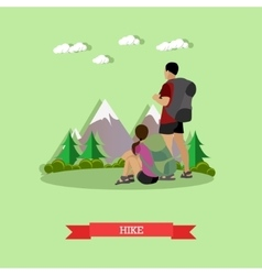 Couple hiking in mountains Outdoor hike concept vector