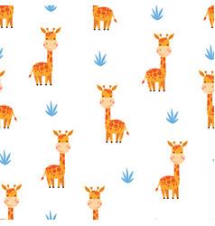 cute cartoon giraffes seamless pattern vector image