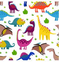 Cute colored dinosaurus seamless pattern vector