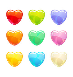 cute glossy colorful hearts set vector image