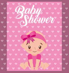 cute little girl hearts background baby shower vector image