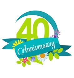 Cute Nature Flower Template 40 Years Anniversary vector