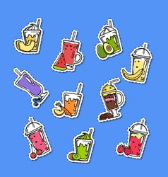 doodle smoothie stickers of set vector image
