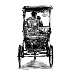 drawing tricycle riskshaw in india vector image