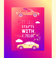 dream car dreaming automobile vehicle vector image