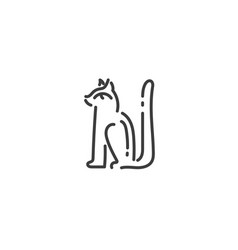 egyptian cat god bastet flat outline icon egypt vector image
