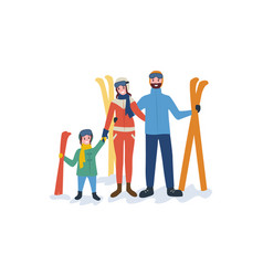 family skiing mother father parents and child vector image