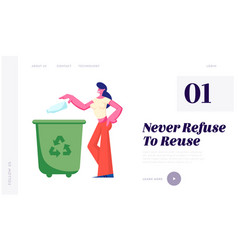 female character throwing trash into litter bin vector image