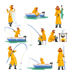 fisherman fishing with net and fishing rod in boat vector image