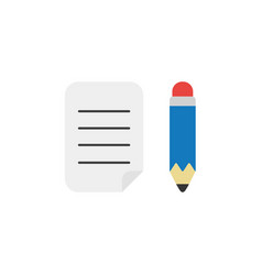 flat design style concept of written paper with vector image