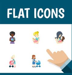 Flat icon parent set of perambulator newborn baby vector