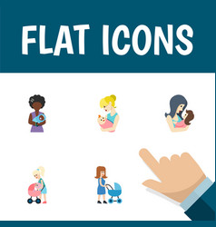 Flat icon parent set perambulator newborn baby vector
