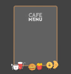 funny cute fast food burger soda french fries vector image