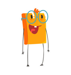 funny smiling humanized orange book wearing vector image