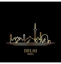 Gold silhouette of Delhi on black background vector