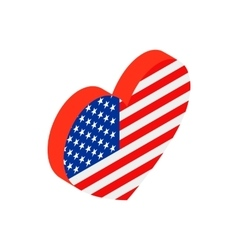 Heart in the USA flag colors isometric 3d icon vector