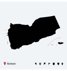 high detailed map yemen with navigation pins vector image