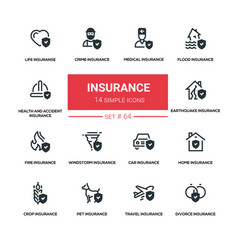 Insurance concept - line design silhouette icons vector