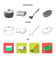 Isolated object of kitchen and cook sign set of vector