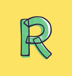 Kid style letter r logo hand-drawn with a marker vector
