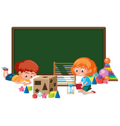 Kid with math toy banner vector