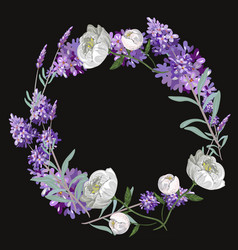 Lavender and peony round frame template on vector