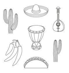 Line art black and white 7 mexican elements vector
