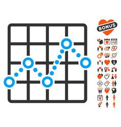line plot icon with love bonus vector image