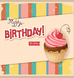 line vintage birthday card with realistic cherry vector image
