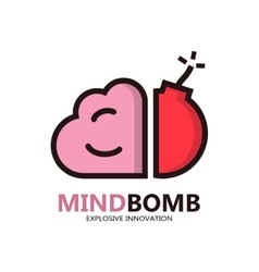 Logo with a combination of brain and bomb vector