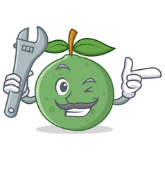 Mechanic guava mascot cartoon style vector