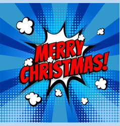 merry christmas pop art comic book text vector image