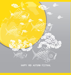 Mid autumn festival background with moon carp vector