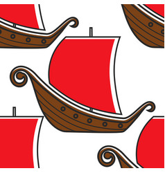 norway ancient ship vikings vessel seamless vector image