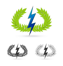 Olive branch with thunder symbol of greek god zeus vector