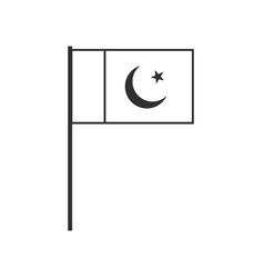 Pakistan flag icon in black outline flat design vector