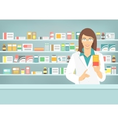 Pharmacist woman with medicine in pharmacy vector image