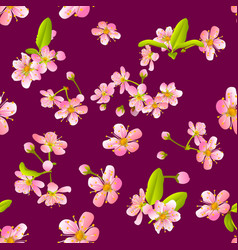Pink cherry sakura flower blossoms seamless vector