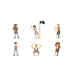 pirate characters posing in different situations vector image